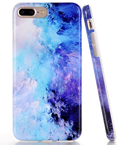 BAISRKE iPhone 7 Plus Case, iPhone 8 Plus Case Blue Mint Opal Marble Slim Flexible Soft Silicone Bumper Shockproof Gel TPU Rubber Glossy Skin Cover Case for iPhone 8 Plus & iPhone 7 Plus