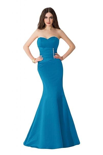 Sunvariar - Vestido largo de satén de sirena, corte entallado, vestidos de fiesta Azul