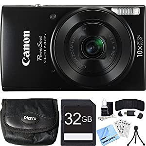 Canon PowerShot ELPH 190 IS Black Digital Camera 32GB Card Bundle includes Camera, 32GB Memory Card, Reader, Wallet, Case, Mini Tripod, Screen Protectors, Cleaning Kit and Beach Camera Cloth
