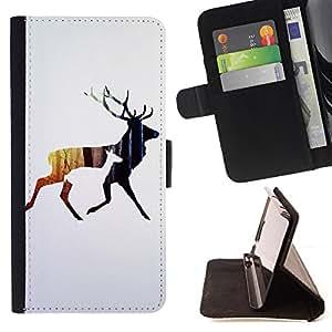 King Art - Premium-PU-Leder-Prima caja de la PU billetera de cuero con ranuras para tarjetas, efectivo Compartimiento desmontable y correa para la mu?eca FOR Sony Xperia Z1 C6902 C6903 C6906- Deer Cute
