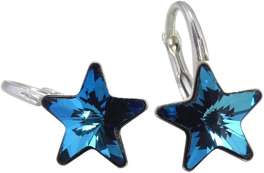 'Crystals & Stones * Bermuda Blue Estrella * *–Schön Pendientes–Pendientes con Cristales de Swarovski Elements–Fantástica Pendientes con caja de regalo