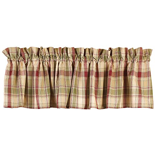 Country House Brandywine Burgundy Sage Green Tan Plaid Valance 72'' x 14'' by The Country House Collection (Image #1)