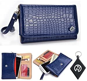 Cerhinu Blue Croc Wallet Clutch Carrying Cover Case for LG Optimus F6 with Built-In Credit Card Slots and Detachable Handstrap...