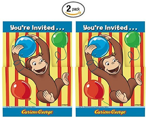 Curious George 8ct Party Invitations - 2 Pack (Curious George Invitations)
