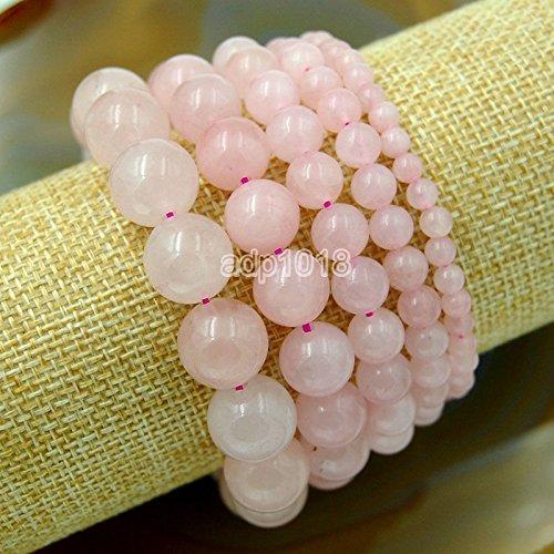 Wholesale Natural Gemstone Beads Stretch Bracelet Healing Reiki 4,6,8,10,12mm (4mm, Rose Quartz)