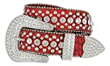 Women's Western Cowgirl Rhinestone Studded Leather Belt 1-1/2'' Wide (Medium, Red)