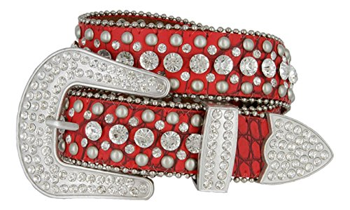 Women's Western Cowgirl Rhinestone Studded Leather Belt 1-1/2'' Wide (Medium, Red) by Belts.com