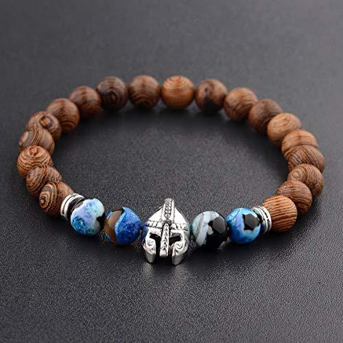 Hebel 8MM Wooden Beaded Crown Buddha Lion Beaded Bracelet Jewelry Stretch Bangle New | Model BRCLT - 31893 |