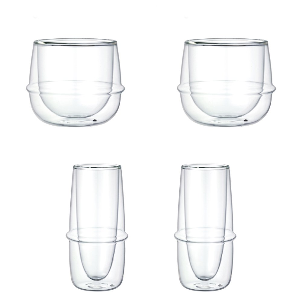 KINTO KRONOS Double Wall Wine Glass and Champagne Glass, Set of 4