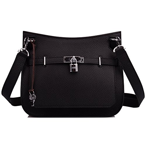Black Genuine Satchel Leather Silver Hardware Messenger With Padlock Ainifeel Women's Bag 6qvSff
