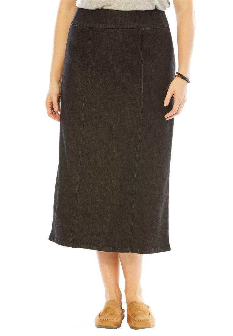 Woman Within Women's Plus Size Smooth Waist A-Line Denim Skirt