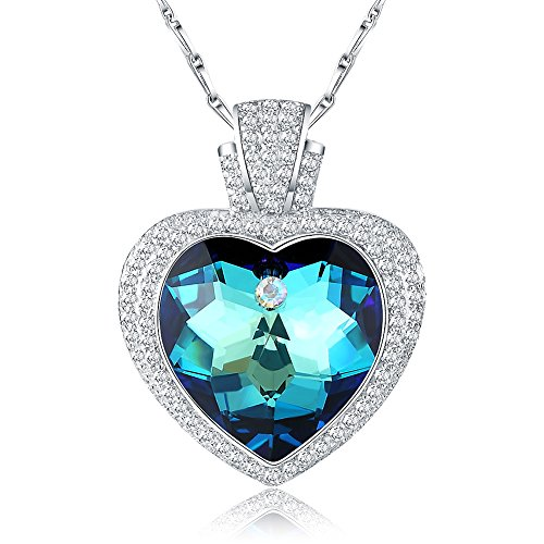 Citled Heart Necklace Swarovski Pendant Element Jewelry For Women Platinum Plated CZ Crystal Necklace Inlaid 17