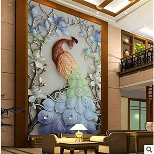 Faraway Peacock 5D DIY Crystal Diamond Painting Paint by Number Kits Animal Full Diamond Mosaic Rhinestone Painting for Wall Decor 90x180cm (Multicolour)
