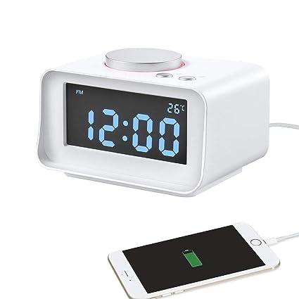 S.HT Alarma De Reloj Digital Inteligente con Multi-Función De Radio FM Doble