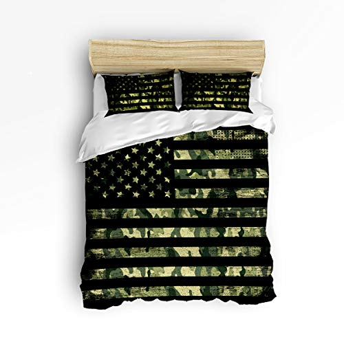 Libaoge 3pc Bedding Collection Full Size USA Flag Duvet Cover Sets, Camouflage Themed Bedding Set with Matching Pillowcases for Kids Children Teens - Camouflage Collection Bedding