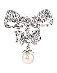 Ever Faith Women's Austrian Crystal Cream Simulated Pearl Double Bowknot Brooch Clear Silver-Tone