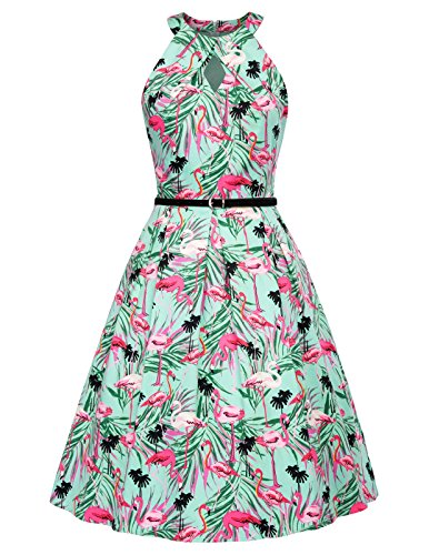 Women's 1950s Vintage Sleeveless Belted A-Line Party Swing Dress L BP460-2