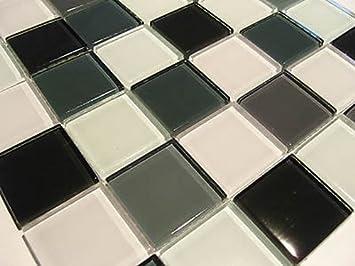 Schon FLIESENTOPSHOP Glasmosaik Mosaik Fliesen 8mm Klar Schwarz Weiß Grau Dusche  Bad Sauna 5x5