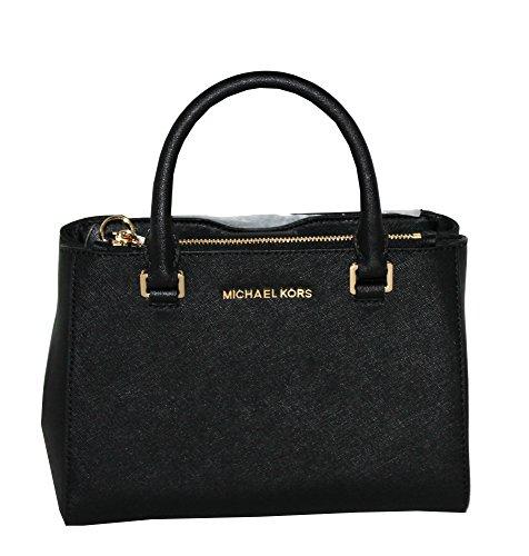MICHAEL Michael Kors Women's KELLEN XSMALL SATCHEL Leather Shoulder Handbags (BLACK) by MICHAEL Michael Kors
