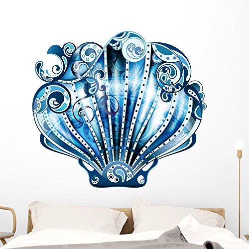 Wallmonkeys Scallop Blue Wall Decal Peel and Stick Graphic (48 in W x 43 in H) WM102420 (Horizontal Shell Wall)