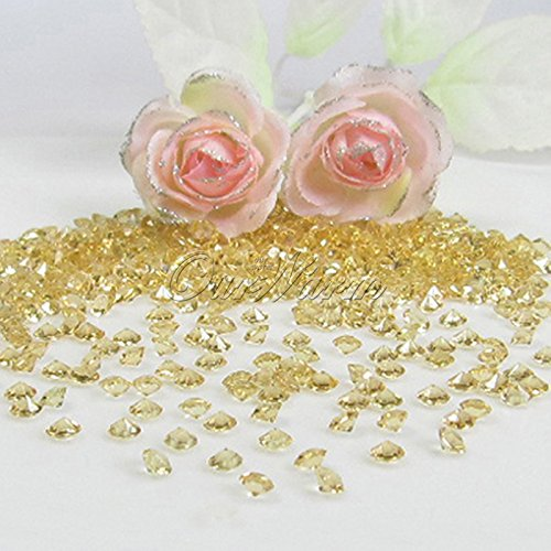 OurWarm® 1000pcs Diamond Confetti Banquet Decor Favor, Hot Sale New Supply , Acrylic Crystal Bead Sparkly ,Vase Beads Scatters,Wedding Party Decor 1Carat? (6.5mm) ( Gold )
