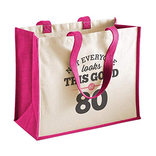 80th Birthday Keepsake Gift Bag Present for Women Novelty Shopping Tote (Woman 80th Birthday Presents For)