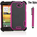 Anti-shock and Bump Dual Layer Case for AT&T HTC ONE X , HTC ONE X + LTE ONLY - Soft and Hard Case Cover Skin + Stylus Pen (Anti-Shock&Bump - Black/Pink/Black)