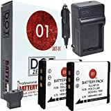 2x DOT-01 Brand 1400 mAh Replacement Pentax D-LI68 Batteries and Charger for Pentax Q, Q10, Optio A36, Optio S10, Optio S12, QS1 Digital Camera and Pentax DLI68