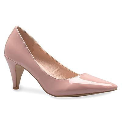 Olivia K Women's Classic D'Orsay Closed Toe Mid Stiletto Heel Pump | Dress, Work, Party Low Heeled Pumps | - Comfortable | Pumps