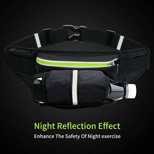 Fanny Pack MYCARBON Waist Pack with Water Bottle Holder,Waterproof Running Belt for Men Women,Fits IPhone 8Plus Galaxy S8 Note 8,Reflective Hydration Belt for Running Hiking Travelling-Black Fanny Bag by MYCARBON (Image #2)