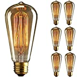 KINGSO 6 Pack E27 Base 60w Vintage Edison Bulb Dimmable ST64 Antique Filament Tungsten Squirrel Cage Style 19 Anchors Incandescent Bulbs for Home Light Fixtures Decorative Glass 110v