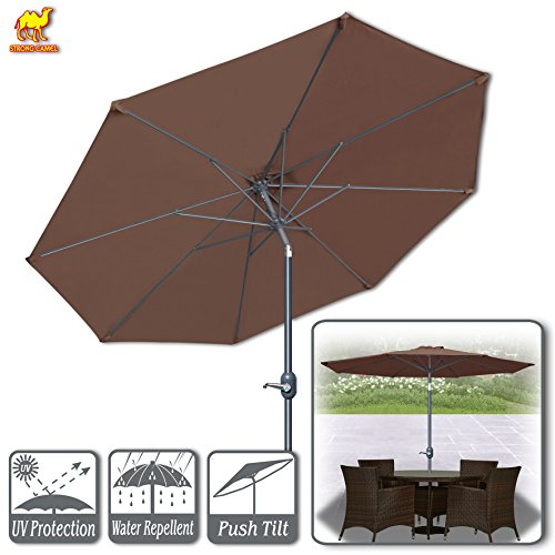 Strong Camel 9ft Patio Umbrella with Tilt and Crank 8 Ribs Outdoor Garden Market Umbrella Sunshade Brown