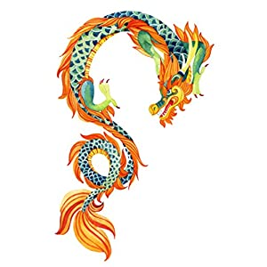 "Chinese Asian Orange Blue Painted Dragon Vinyl Decal Sticker (12"" Tall)"