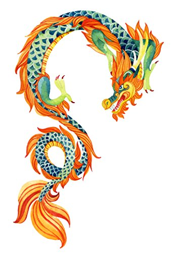 Chinese Asian Orange Blue Painted Dragon Vinyl Decal Sticker (4