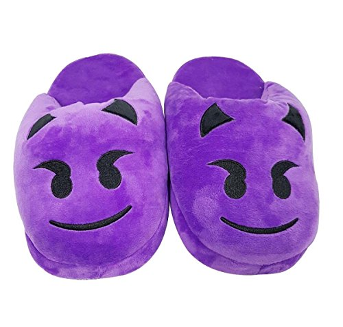 Htuk® Emoji-Hausschuhe, Plüsch, gefüttert, mit Smiley, für Damen und Herren, Einheitsgröße, flauschig Devil