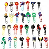 Melleco 30pcs Paper Clips Bookmark Superhero Cartoon Cute Page Markers Organizer Funny School Office Supplies Gift