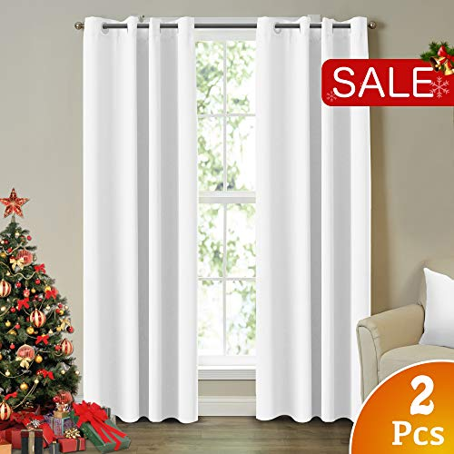 Velvet Eyelet - White Curtains for Living Room Light Reducing Curtains 96 Inch Drapes Pure White Themal Insulated Grommet/Eyelet Top Nursery & Infant Care Curtains Each Panel 52