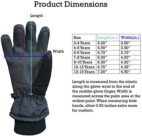 N'Ice Caps Kids Thinsulate Waterproof Bulky Winter Snow Ski Glove With Ridges