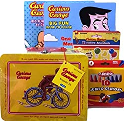 Gift Set #8 - 2 Curious George Monkey Big Fun to Color Coloring Book with Crayons 72 Stickers and Curious George Tin Keepsake Box Bundle 5 Items