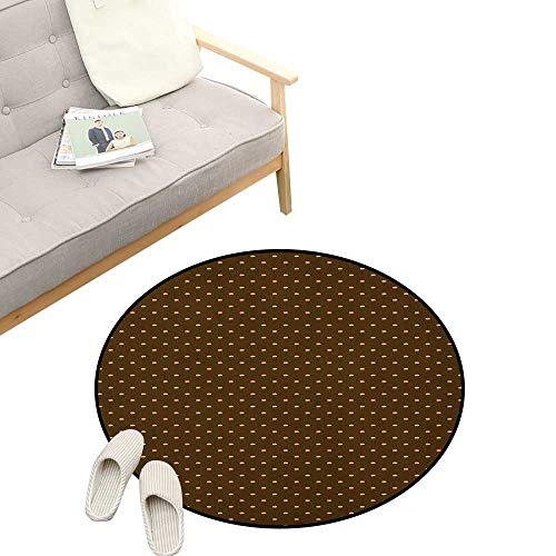 Abstract Round Rug Living RoomArt Deco ,Cupcake Pattern with Hearts on Top Sweets Dark Toned Brown Background, Playroom Super Soft Carpet Floor Mat 39