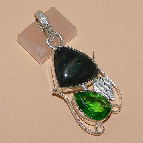 Green Moss Agate, Green Quartz Hydro Pendant Silver Overlay Fashion Statement Jewellery 1.90 Inches.