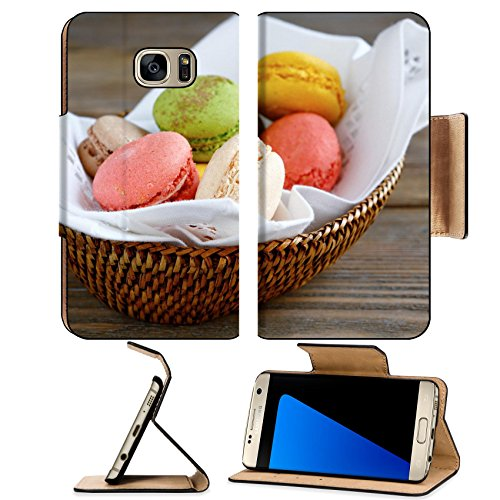 MSD Premium Samsung Galaxy S7 Edge Flip Pu Leather Wallet Case IMAGE ID: 30524038 fresh macaroon in the basket food closeup (Cookie Baskets Ma)