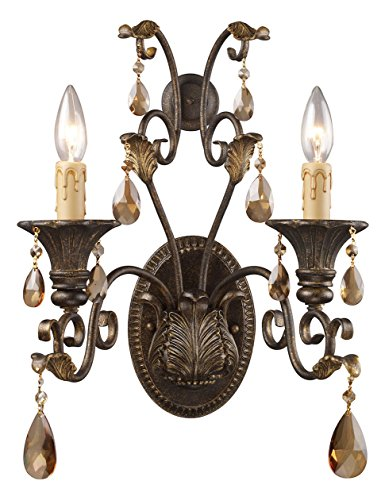 (Rochelle 2 Light Sconce in Weathered Mahogany and Amber Crystal)