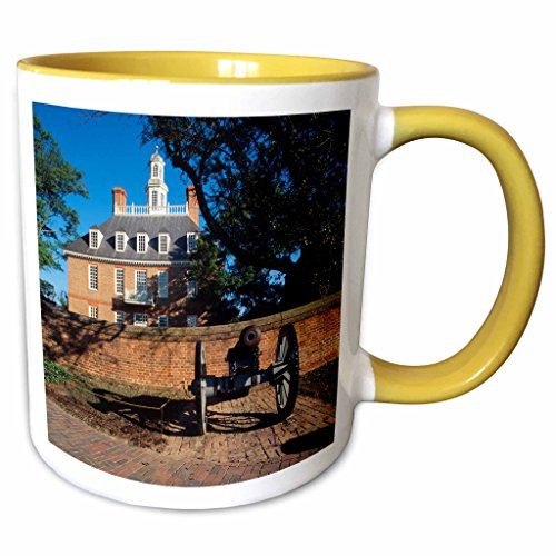 3dRose Danita Delimont - Palaces - Governors palace, Williamsburg, Virginia, USA - US47 WBI0003 - Walter Bibikow - 11oz Two-Tone Yellow Mug - Williamsburg Outlets Virginia