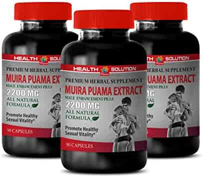 Male Enhancing Pills Increase Size and Girth - Muira PUAMA Extract 2200 Mg - Male Enhancement Pills - Stamina Enhancer for Men - 3 Bottles 270 Capsules