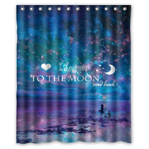 Galaxy Sea Beach Love With Quotes: I love You To The Moon And Back Design Bathroom Mildew Proof Polyester Fabric 60