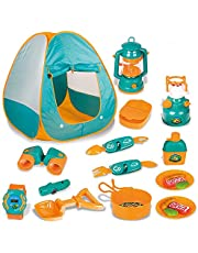 Kids Camping Set,Indoor/ Outdoor Pop Up Tent with Camping Gear Adventure Set Pretend Camping Playhouse with Tools Play Kitchen Food Toys for Toddler Boys Girls Age 3+