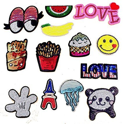 13pcs/lot Cloth Patches Applique DIY Decoration Accessories Iron On Embroidered Sequins Glitter Patch Set-Banana French Fries Eyeball Watermelon Love Jellyfish Love Panda Eiffel Tower Ice Cream Patch