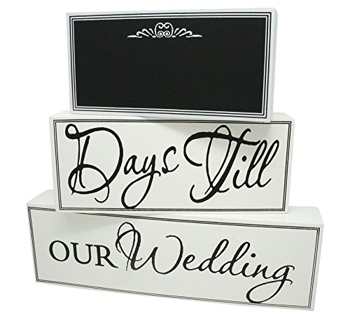 - Rubies & Ribbons Wedding Countdown Calendar Chalkboard Sign 3-Piece Set