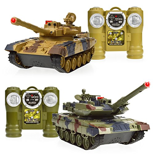 (Dynasty Toys Laser Tag Tanks - LED Battling Tanks Toys - Set of 2 RC Tanks with Infrared Remote Control RC Car Capabilities - Battle Tanks Keep Score / Register)